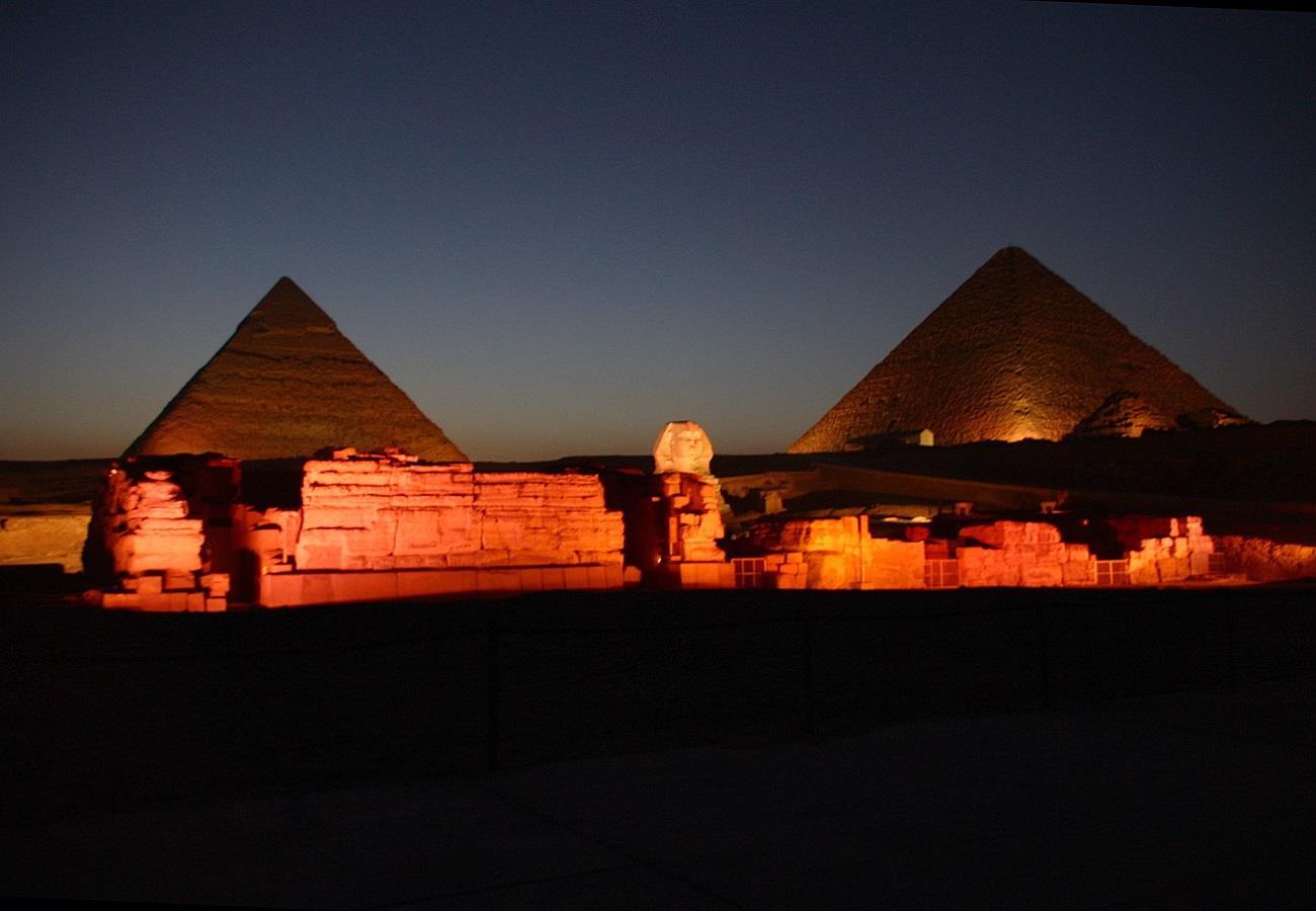 Giza pyramid complex in night